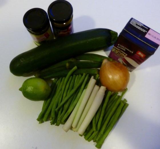 Ingrediënten voor groene curry