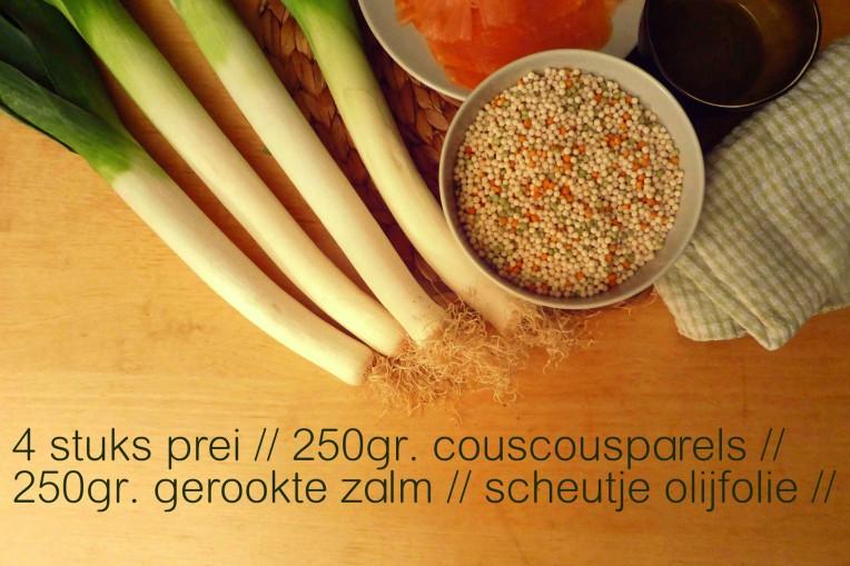 goestjes.be ingredienten voor couscousparels met prei en gerookte zalm