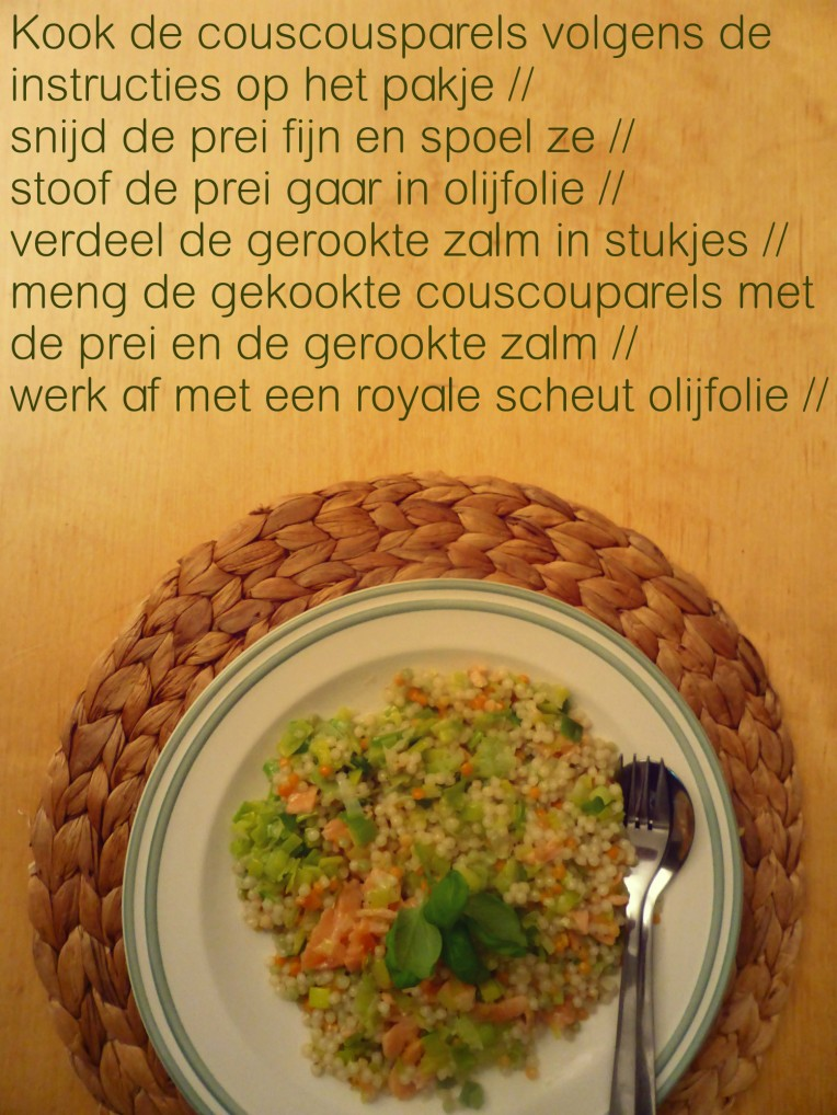 goestjes.be recept voor couscousparels met gerookte zalm en prei