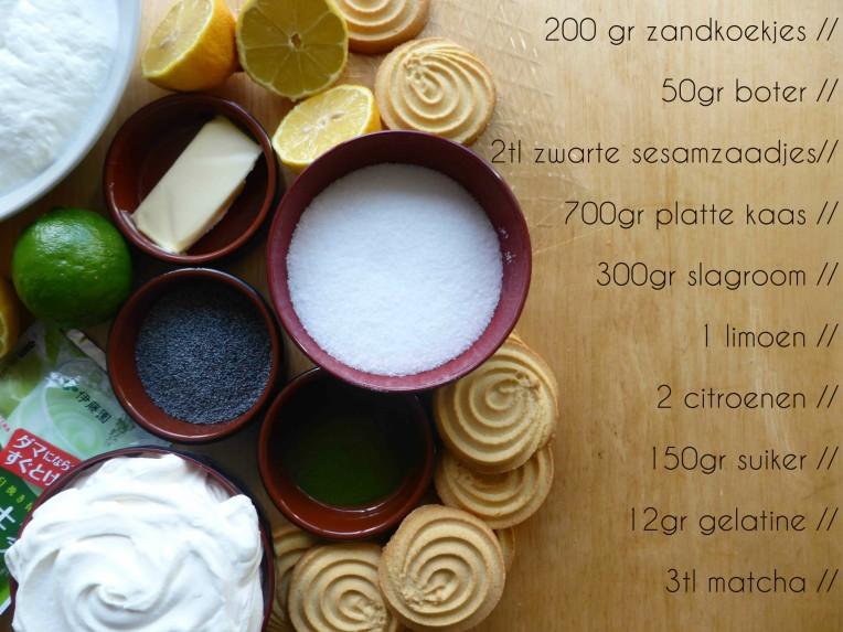 ingredienten matcha cheesecake www.goestjes.be