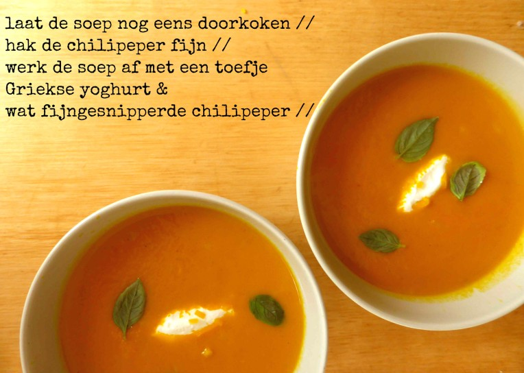 pittig soepje geroosterde wortelen afwerking griekse yoghurt