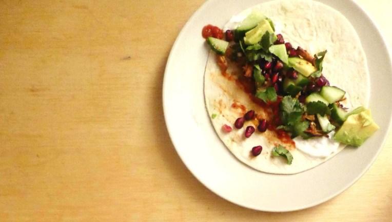 pulled pork taco draadjesvlees granaatappel