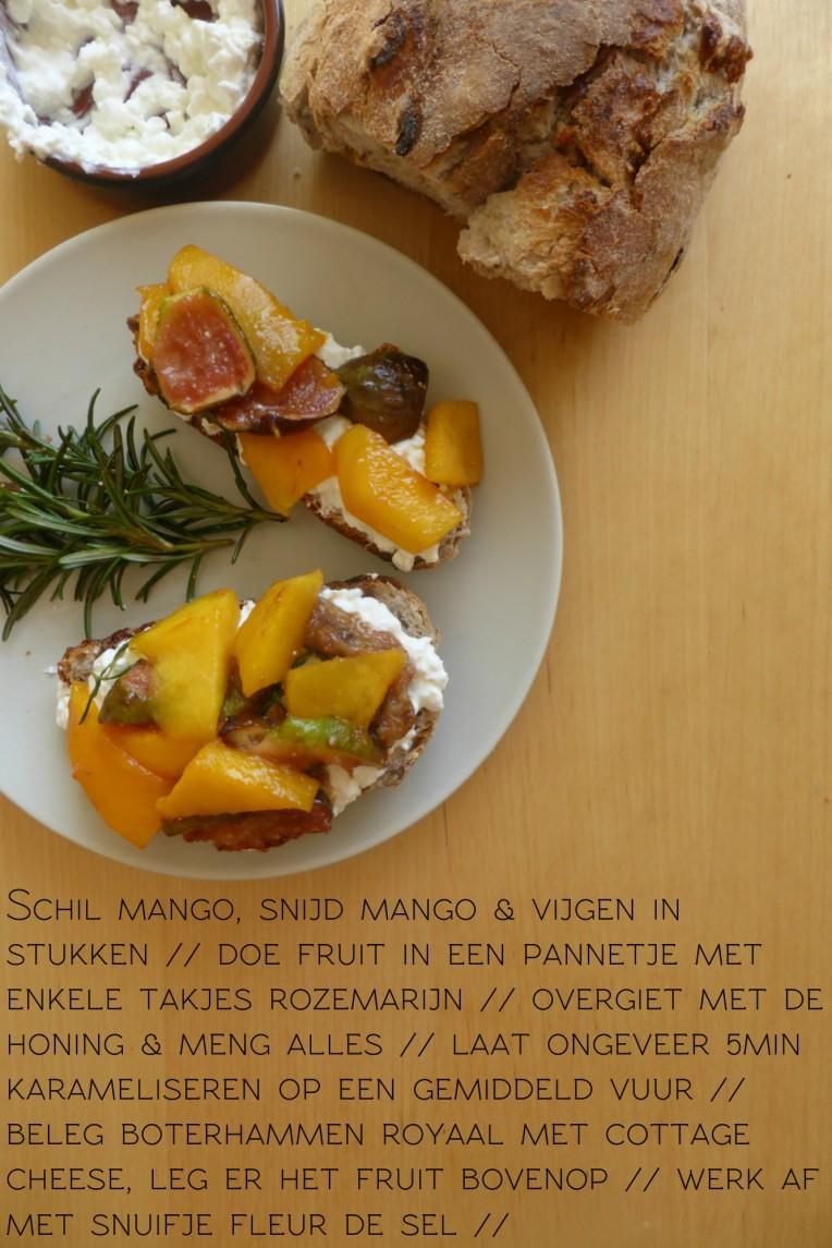 zonnige boterham gekarameliseerd fruit recept rozemarijn mango vijg cottage cheese