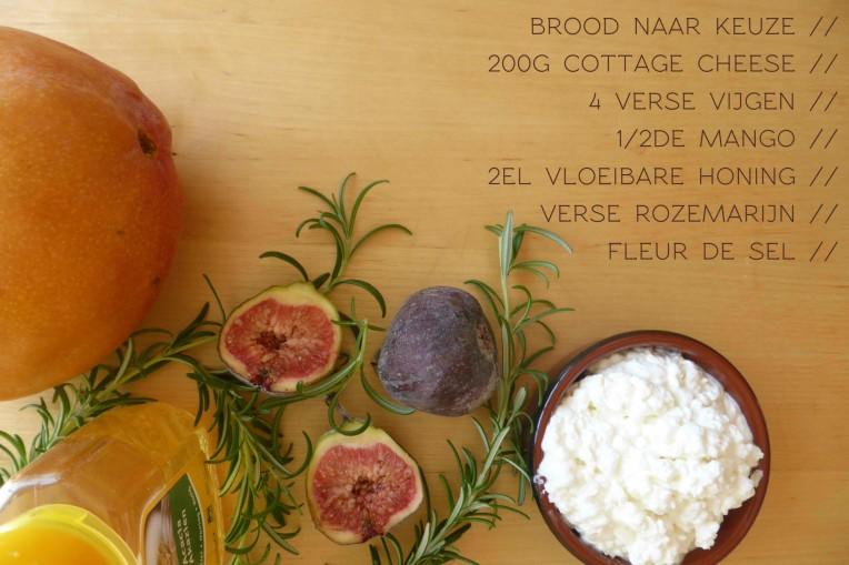 zonnige boterham met gekarameliseerd fruit ingredienten mango ijg honing rozemarijn