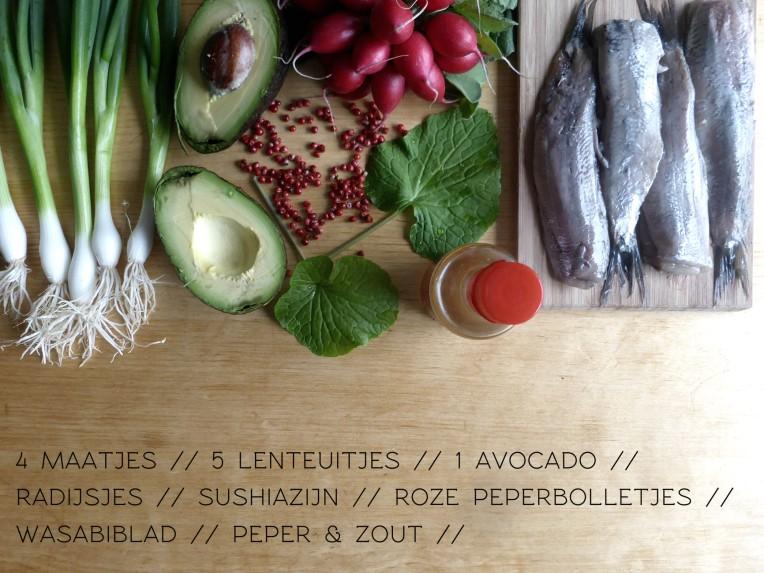 maatjes haring hollandse nieuwe met avocado radijsejs gemarineerd in sushiazijn