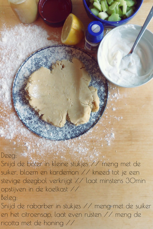 recept rabarbertaart rabarber zanddeeg kardemon honing ricotta deel 1