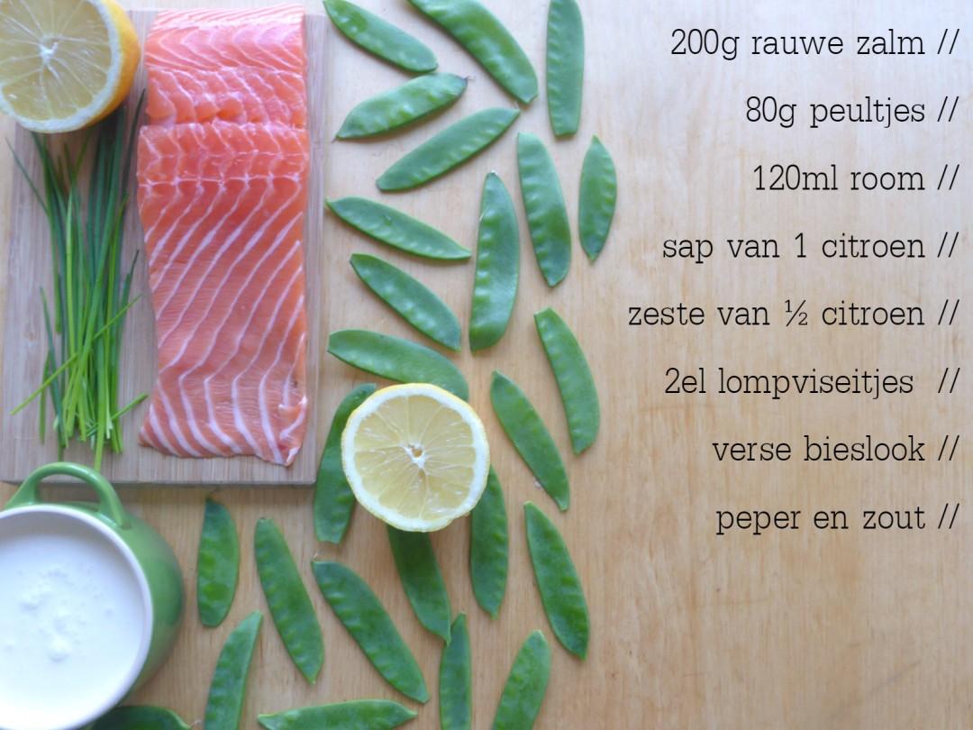 ingredienten tartaar zalm rauw peultjes citroensap bieslook zure room zeste