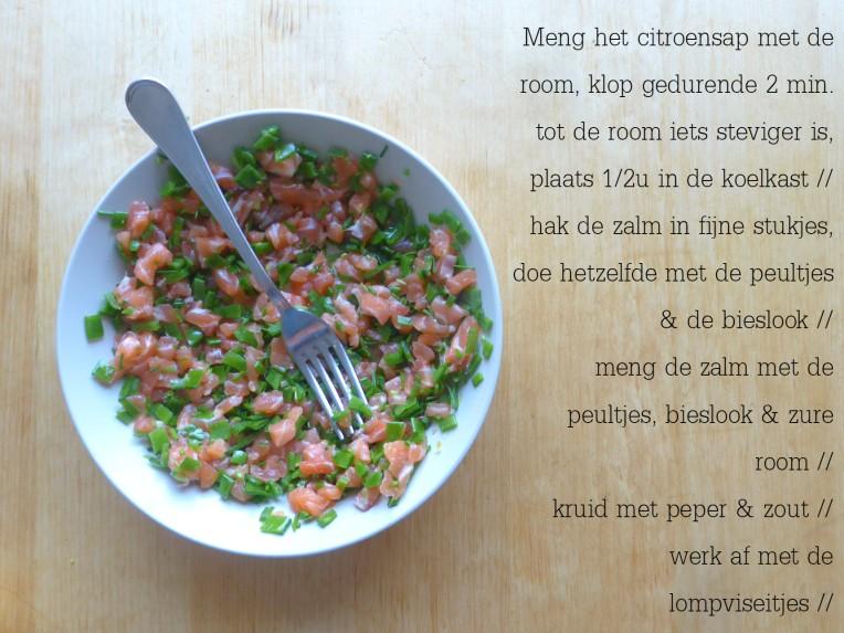 recept frisse zalmtartaar lomviseitjes peultjes